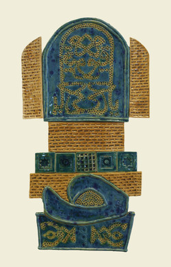 Easern View with Caligraphy -Stonware Clay-Glazed -H.70xW