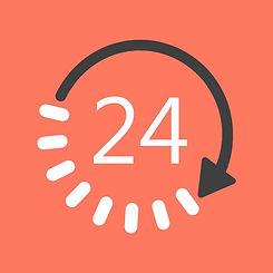 24 hour clock! Open 24 hours
