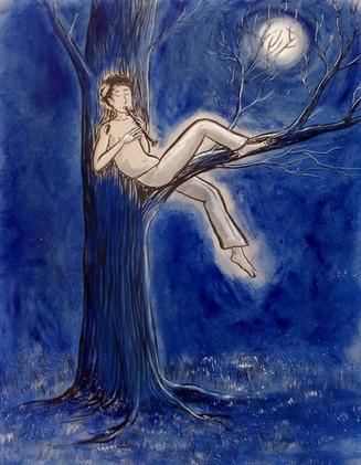joueur de flûte sous la lune