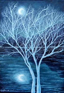 les arbres s'enlacent dans la nuit