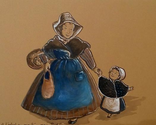 mère et enfant au marché