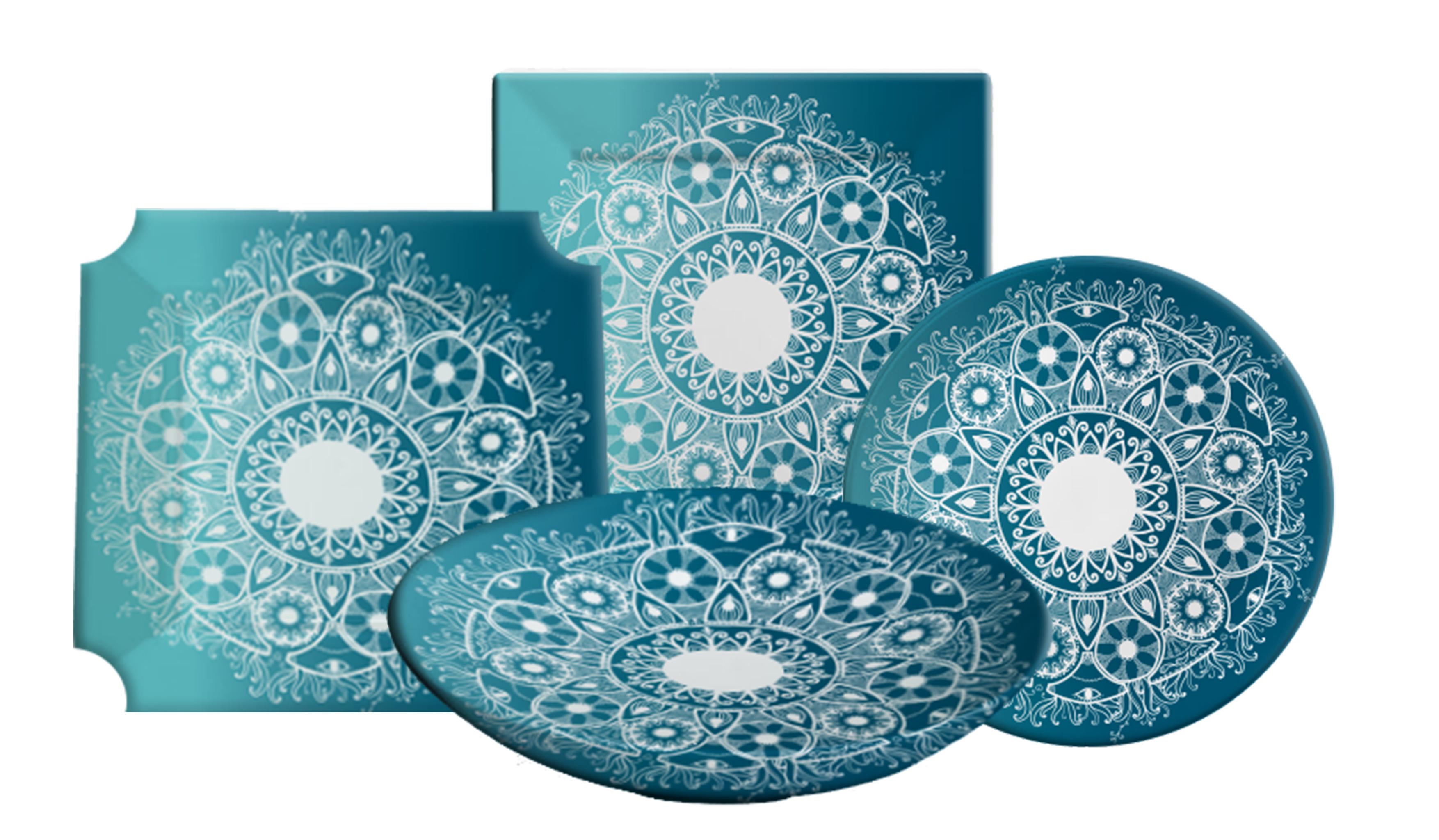 צלחות דקאל כחולות