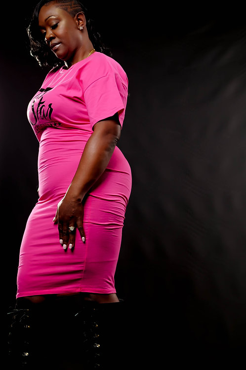 Pink Fitted T-Shirt Dress