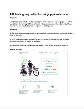 A/B Test Original versjon