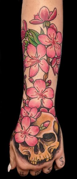 skull cherry blossom - left forearm