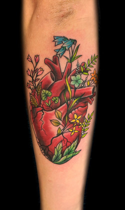 human heart flowers - left forearm