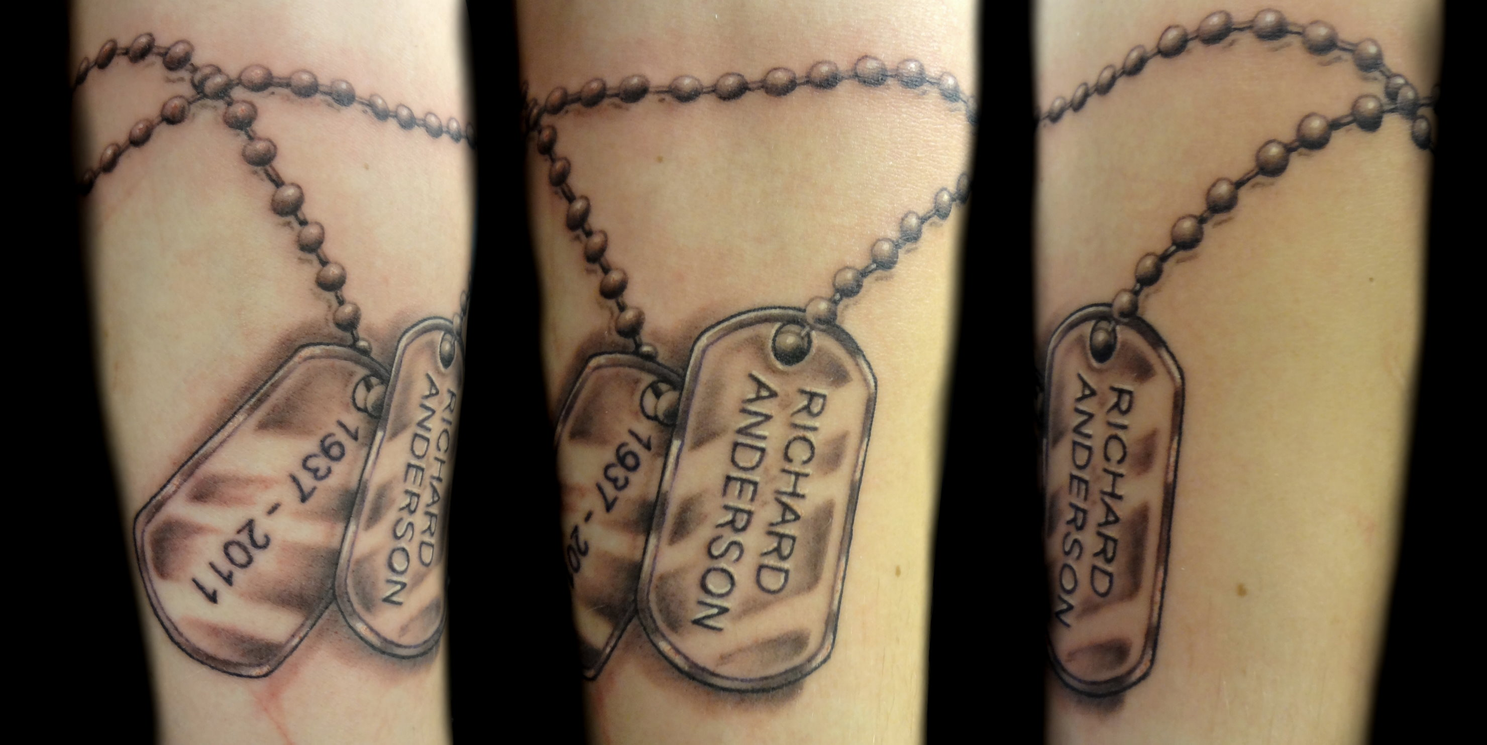 dog tags - left forearm