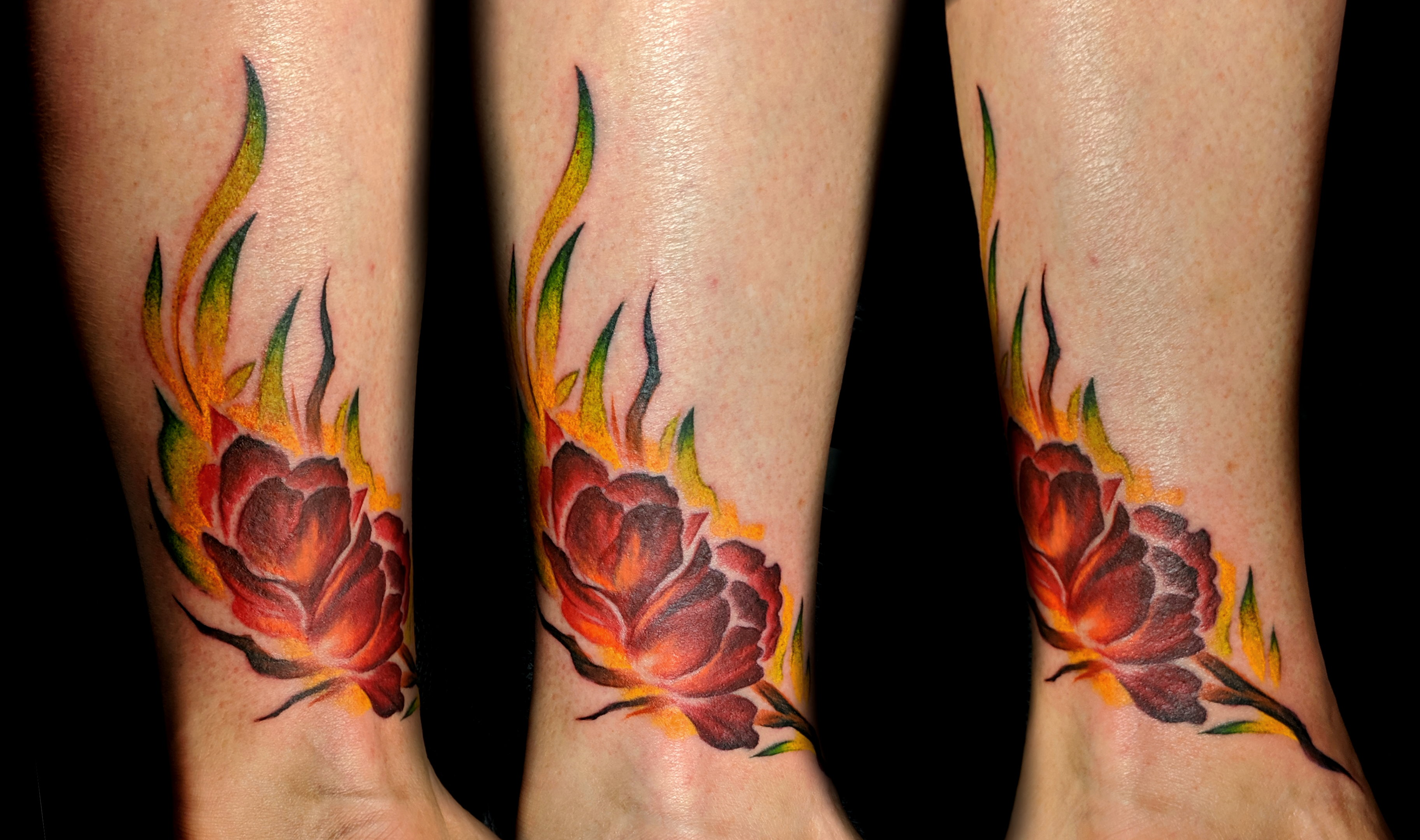 flower peonies watercolor - right ankle.