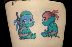 cute ninja turtles on leg