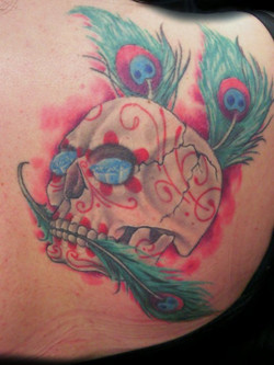 sugar skull feathers - shoulder