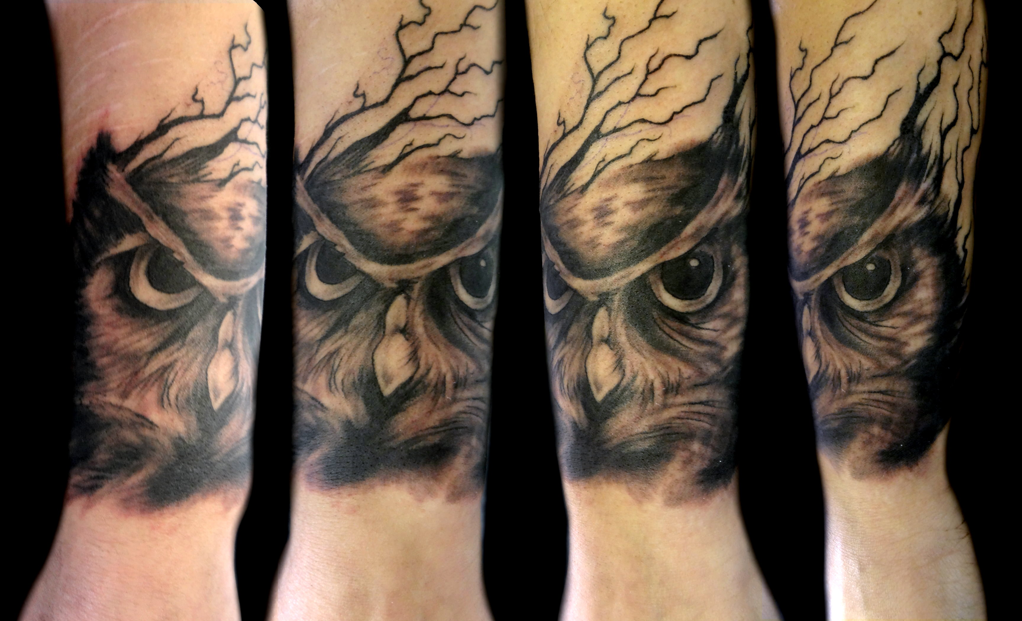 owl sketch - left forearm