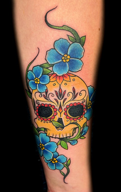 sugarskull flowers - left forearm