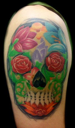 flower skull - right arm