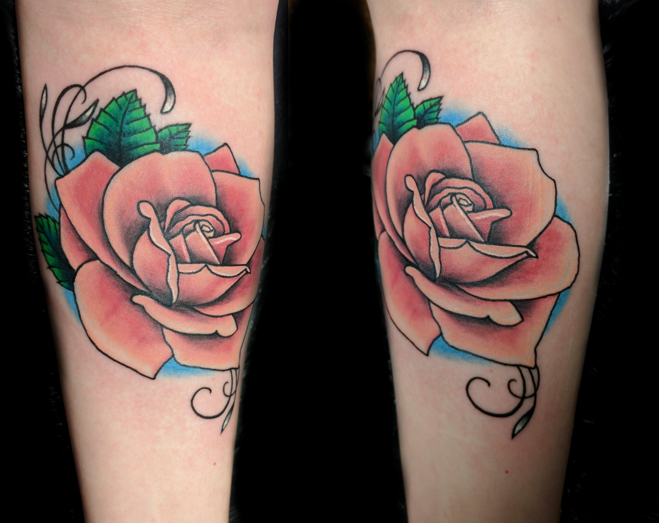 flowers - pink rose - right forearm