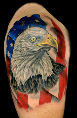 american flag - eagle - right upper arm.