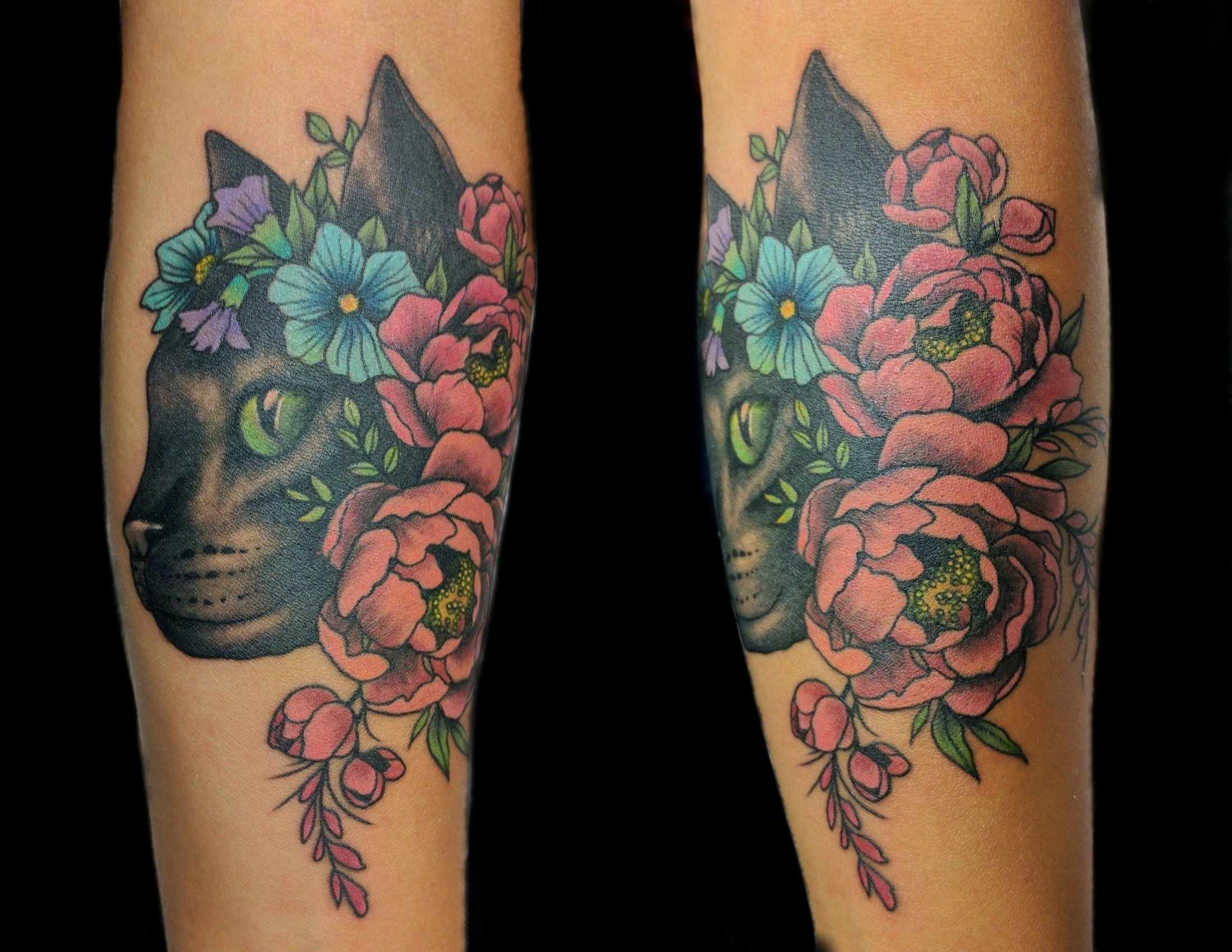 cat and flowers - left forearm