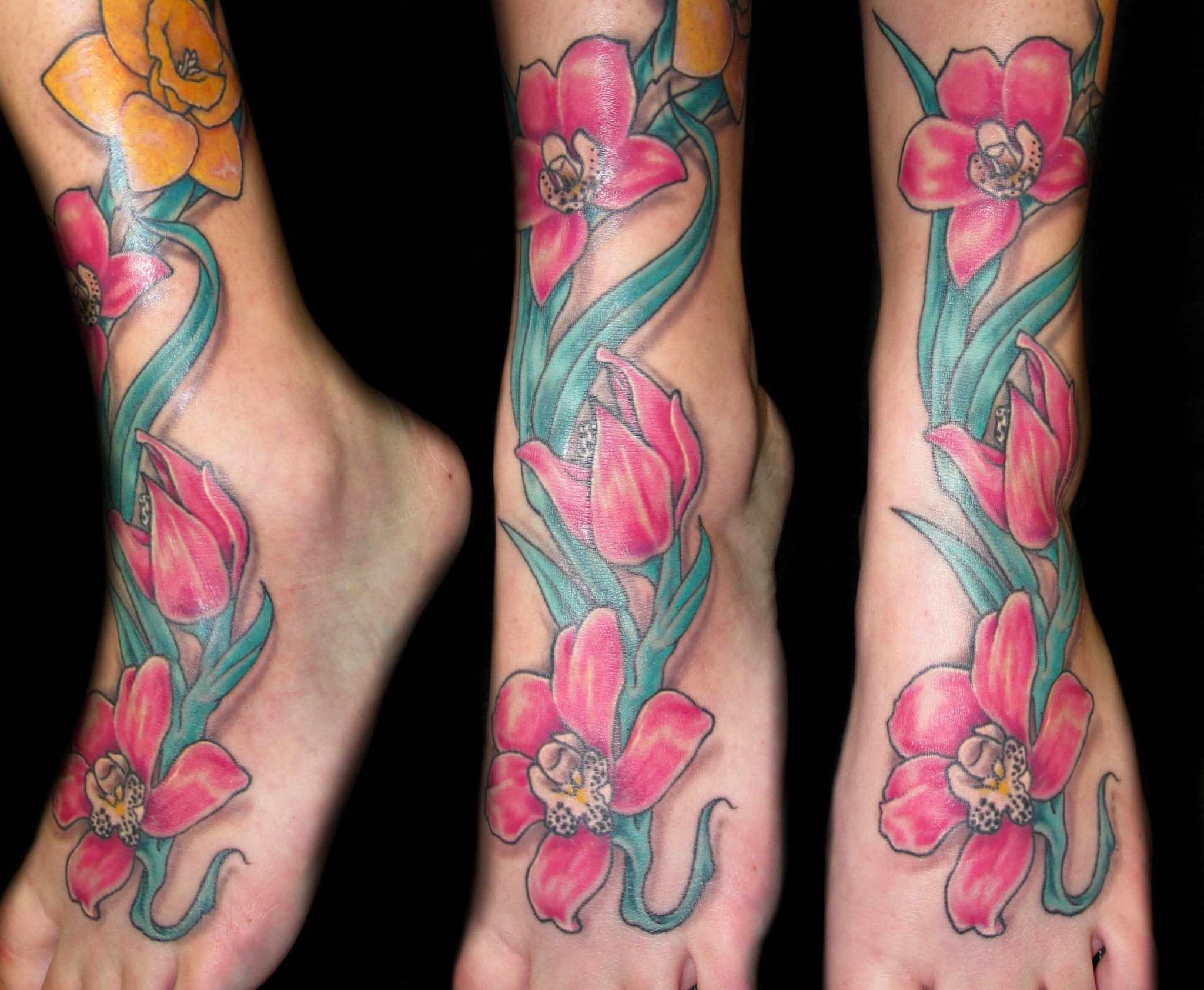 flowers - orchids pink - ankle
