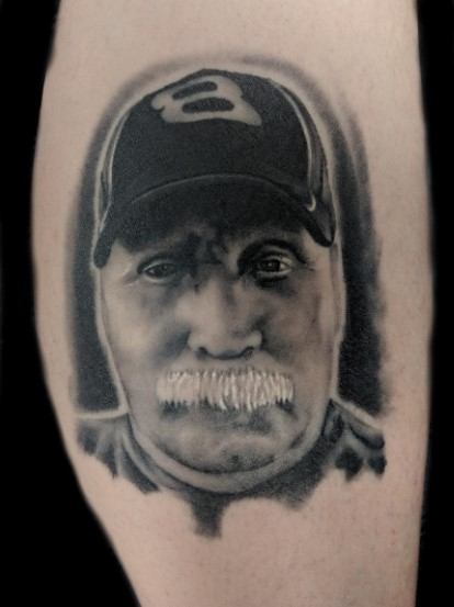 portrait - brother mustache - right calf