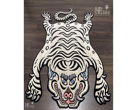 Snow  Tibetan Tiger Rug 065