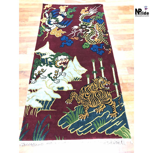 Tiger Dragon Bird Print Rug 030