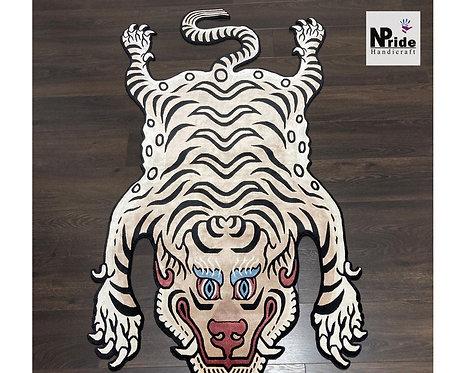 White Tibetan Tiger Rug 066