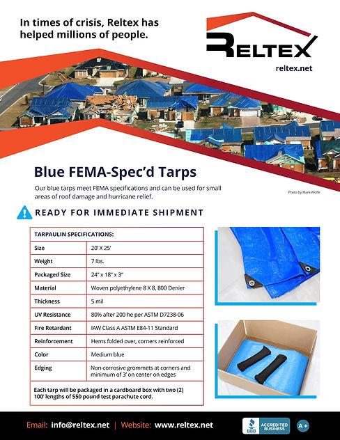 Reltex Blue Tarps FEMA Specification