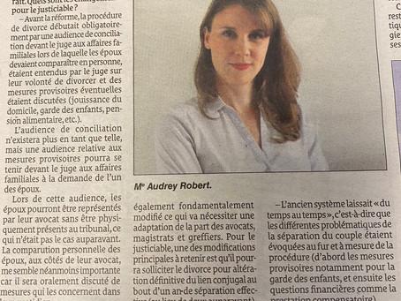 La réforme du divorce 2021 / Interview de Me Audrey ROBERT par Le Quotidien de la Réunion