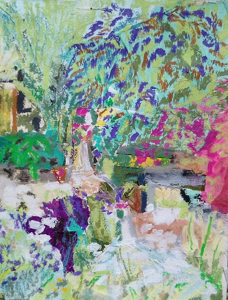 'View from the studio with buddleia and