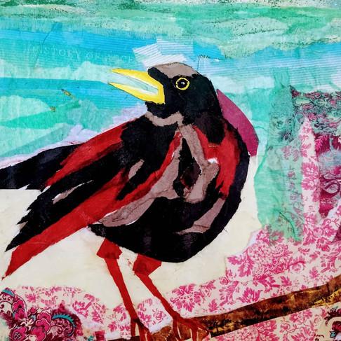Blackbird, (garden),15cm sq, mixed media