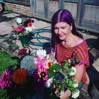 me with the dahlias blue hen flowers.jpg