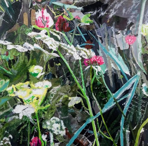 Clare's garden 2 (garden), 30cm sq, mixe