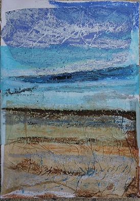 Stripey seaside, mixed media, A5.JPG