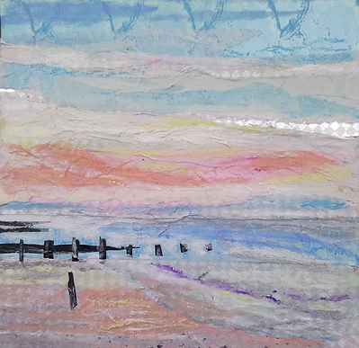 evening pink with stripes mixed media ma
