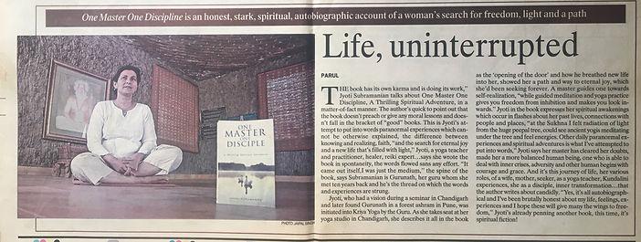 One Master one disciple, Jyoti Subramanian