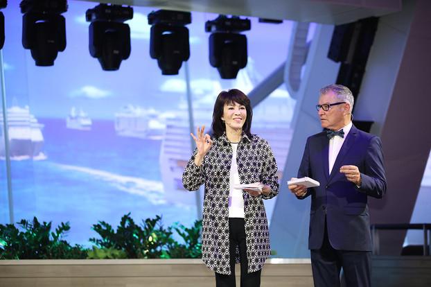 Ms Carol Cheng (Dodo) and Gordon Whatman, Cruise Director on Spectrum of the Seas