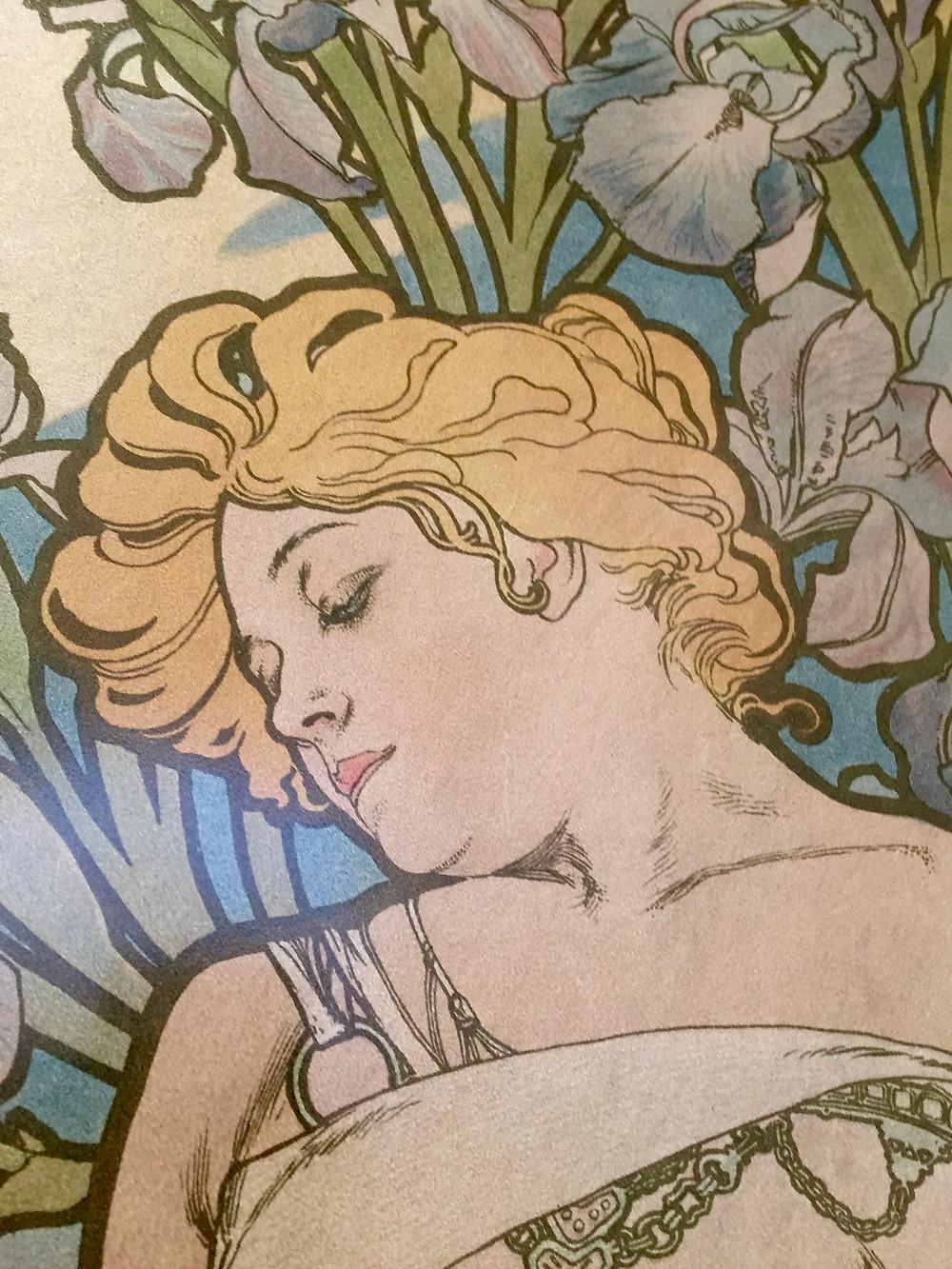 Close-up Detail of Alphonse Mucha's Iris   Photo by Martha Clark Scala