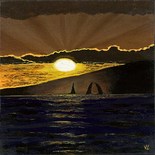 4. Sailing Boats Sunset.  2019  (canvas print)
