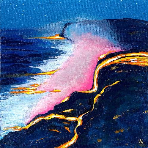 7. The Lava Flows into the Ocean. 2019  (canvas print)