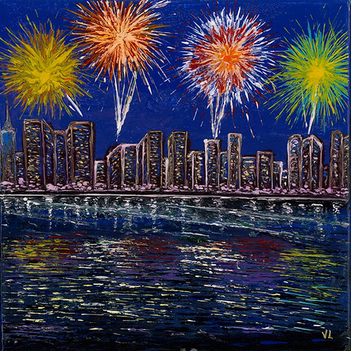 34. Fireworks in Honolulu.  2019  (canvas print)