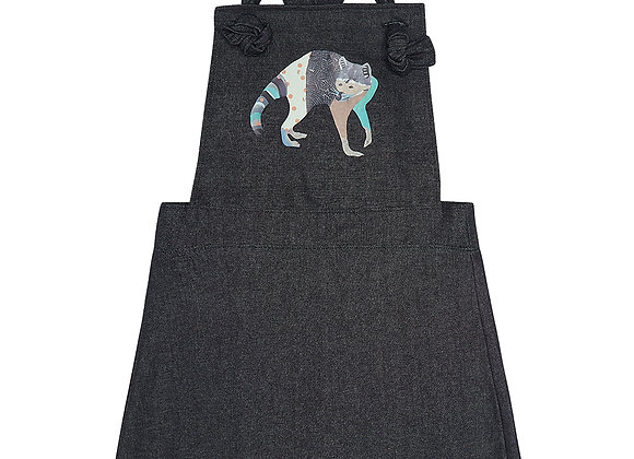 Raccoon Denim Pinafore Dress