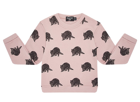 Pink Raccoon Print Sweater