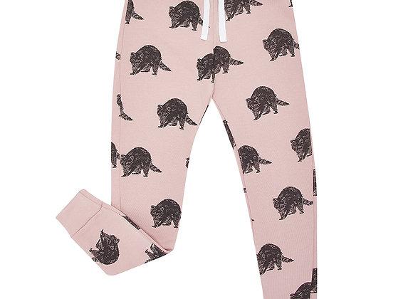 Pink Raccoon Print Sweatpants
