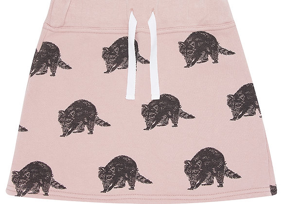 Pink Raccoon Print Skirt