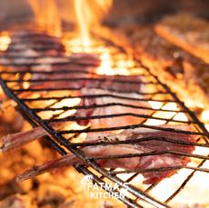 lamb on hot grill