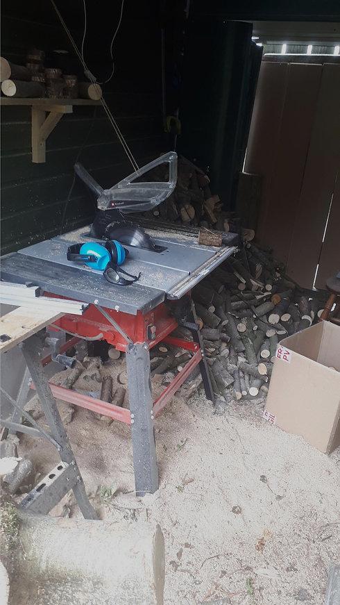 Circular saw on a table