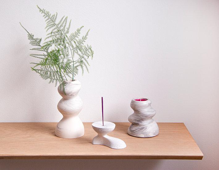 [Set] Bubbly bud vase + tealight/candle holder +Incense burner