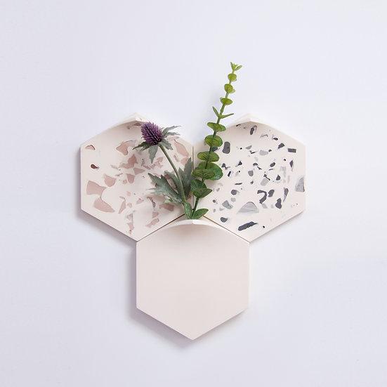2 terrazzo tiles with modular wall-mount vase