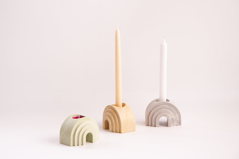 Scala collection - Arch marble finish candle/tealight holders