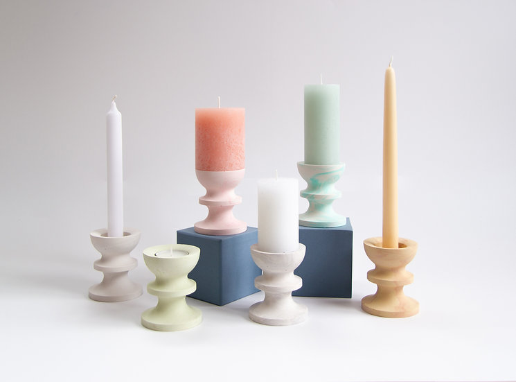 Scala collection - marble finish candle/tealight holders