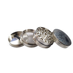 4 Part Light grey Metal Grinder With Native American Design